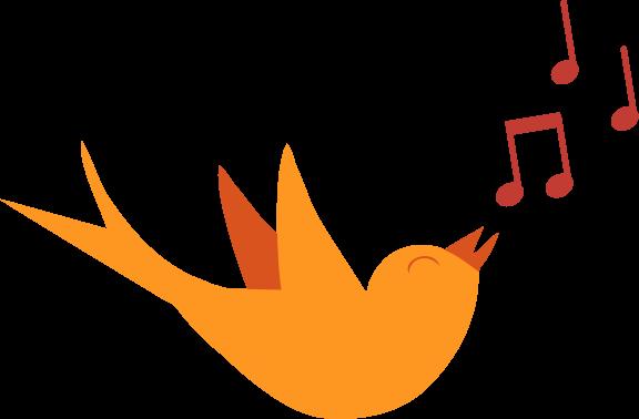 Aves y notas musicales