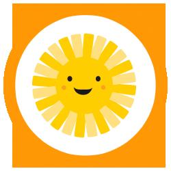 Ícono de sol sonriente