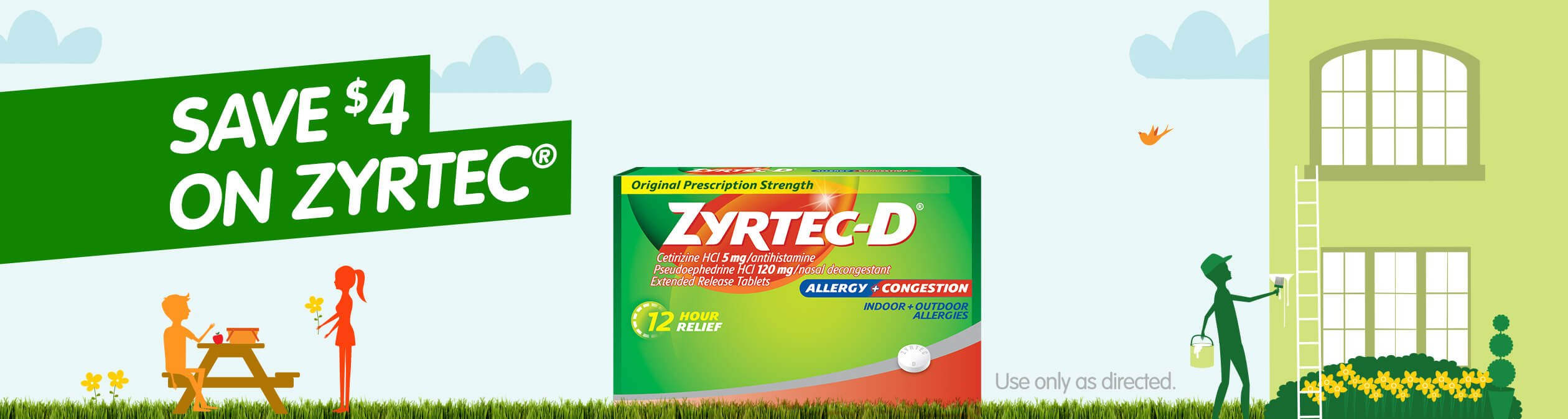try zyrtec®-d to powerfully clear your blocked nose and relieve your