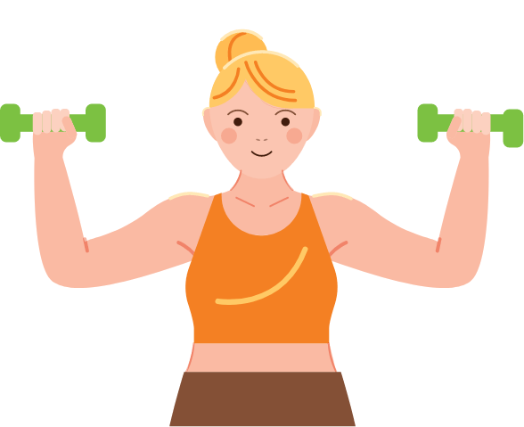 Woman exercising with hand weights