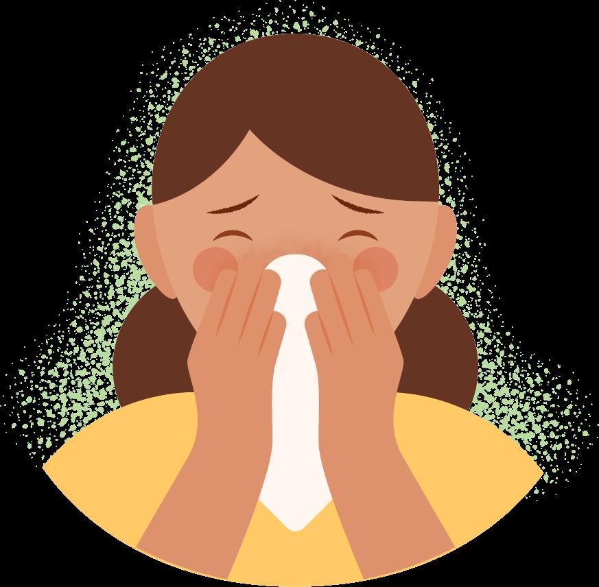 Ilustración de persona con alergia