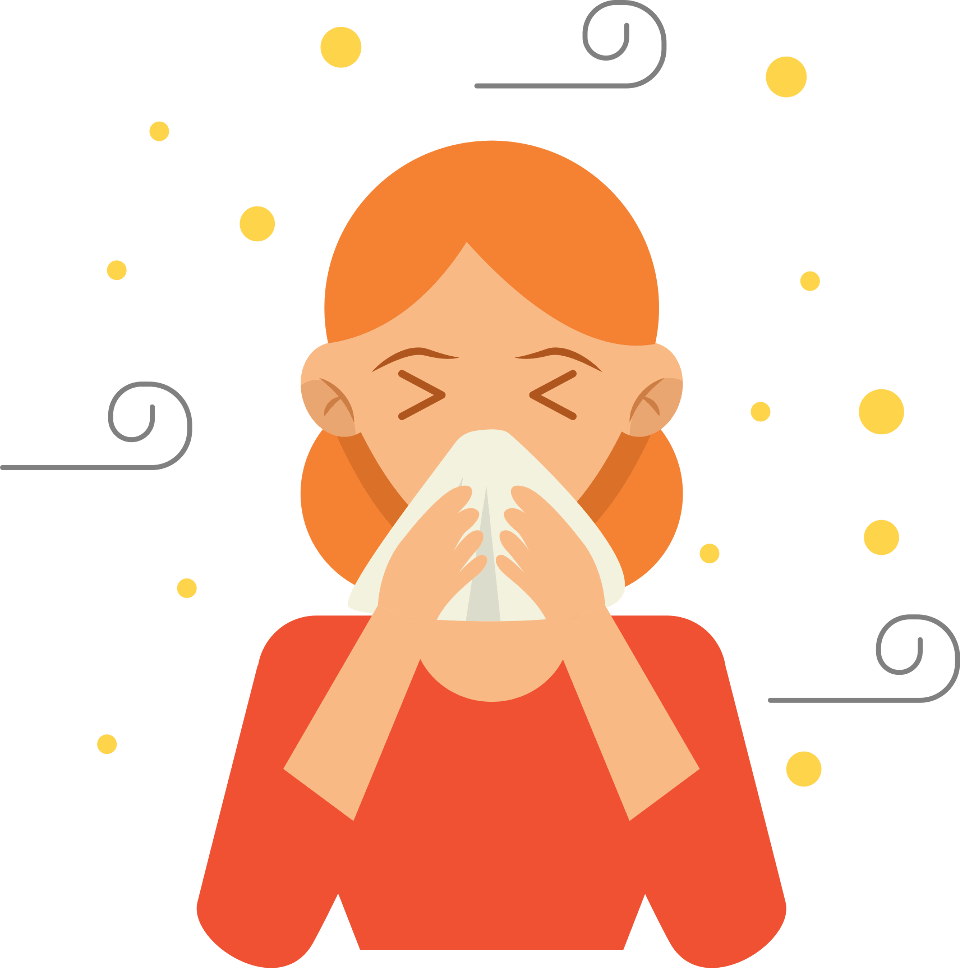 Woman blowing her nose with pollen blowing