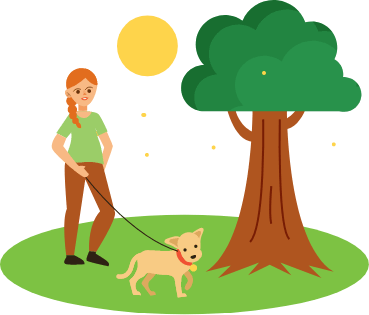 Woman walking a dog outside